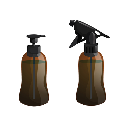 Cartoon trendy design hair styling equipment tool set. Brown figure bottle with spray for hair moistening. Vector barber shop illustration icon collection.