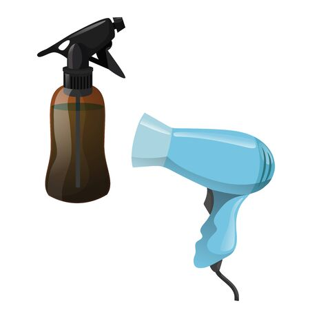 Cartoon trendy design hair styling equipment tool set. Brown figure bottle with spray for hair moistening and electric hairdryer. Vector barber shop illustration icon collection.