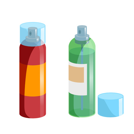 Cartoon style simple gradient hair spray fixation icon set. Closed red bottle with transparent cap and opened green one. Hair care and styling accessory vector illustration collection.