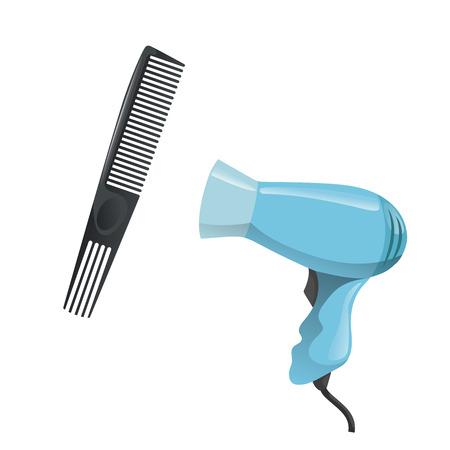 만화 트렌디 한 디자인 헤어 스타일링 장비 도구 집합입니다. 특별한 긴 이빨과 전기 헤어 드라이어가 달린 플라스틱 검은 머리 빗. 벡터 일러스트 레