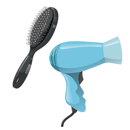 Cartoon trendy design hair styling equipment tool set. Black massage detangler hair brush for styling and electric hairdryer. Vector barber shop illustration icon collection.