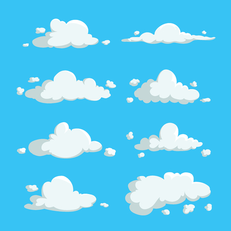 Cartoon cute cloud trendy design icons set. Vector illustration of weather or sky background. 向量圖像