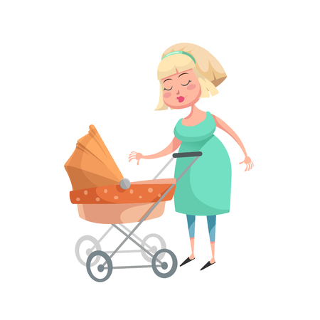 Cartoon woman in green dress with an orange stroller.