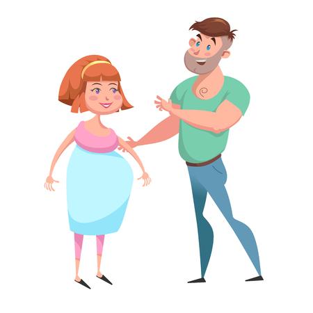 妊娠中の女性と彼女の夫は笑ってください。  イラスト・ベクター素材