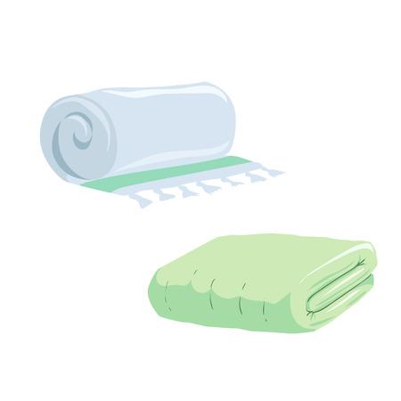 Trendy cartoon style towels set. Illustration