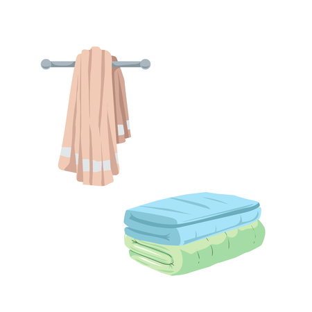 Trendy cartoon style towel icons set. Illustration