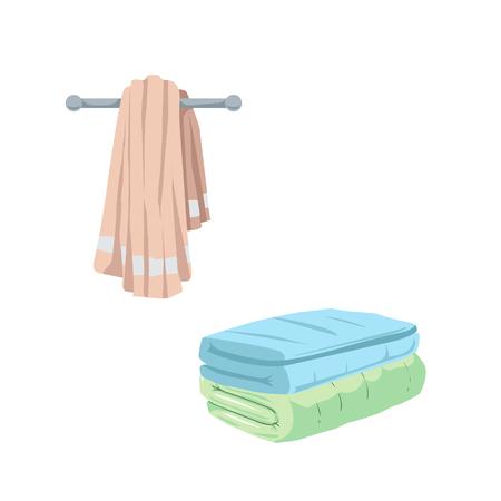 Trendy cartoon style towel icons set.