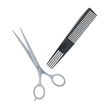Salon hair accessories set. Metal hair cut scissors and black plastic styling comb with special long teeth. Vector trendy illustration icons. 向量圖像