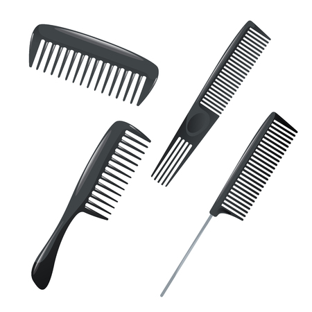 Cartoon trendy design haircare icon set. Plastic combs with different kind of teeth for styling. Vector illustration. Illustration