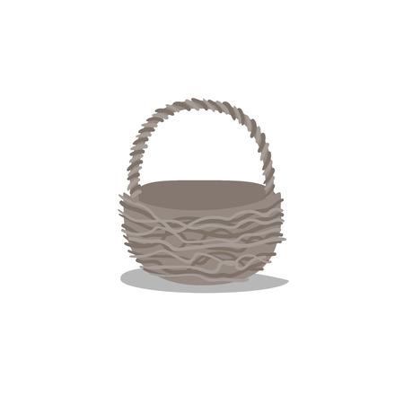 Cartoon trendy design empty basket. Decorative vector illustration icon. Picnic and easter simple flat symbol. Illustration