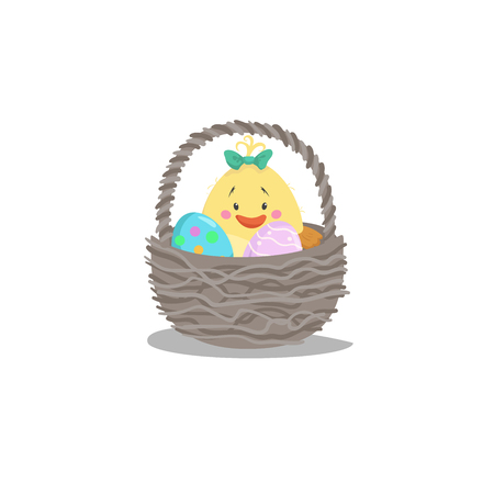 Cartoon trendy design basket with easter colorful and painted eggs and newborn girl chick. Decorative vector illustration icon. Easter simple flat symbol.