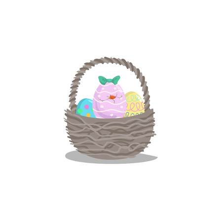 Cartoon basket with easter colorful and painted eggs and hatching girl chick with green bow. Decorative vector illustration icon. Easter simple flat symbol.