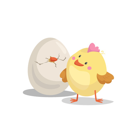 Cartoon cute boy chick looking on hatching egg. Easter and newborn symbol. Vector illustration.
