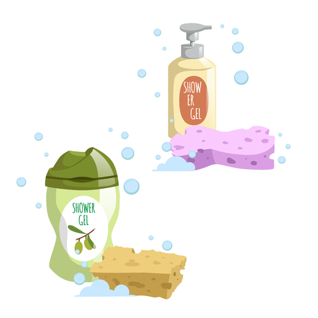 Cartoon trendy design green and yellow containers set colorful bath sponges. Shower gel. Hygiene and body care vector illustration. Ilustracja