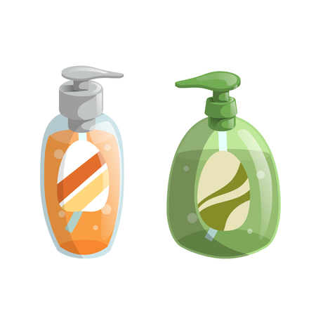 Trendy cartoon style green and orange liquid soap bottles with dispenser icons set. Hygiene and health care vector illustration.