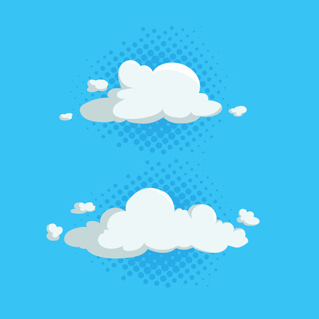 Cartoon cute cloud trendy design icons set on half tone blue circles. Vector illustration of weather or sky background.