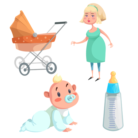 Cartoon happy infancy set. Mother, baby boy with dummy crawl, feed bottle with milk and orange bed pram. Vector illustration.