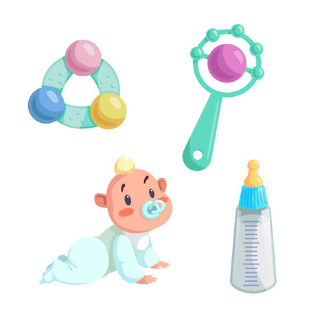 Cartoon happy infancy set. Baby boy with dummy crawl, feed bottle with milk and different rattles. Vector illustration.