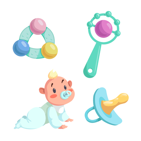Cartoon newborn baby and accessories set. Baby boy with dummy crawl, rubber dummy and different rattles. Vector illustration.