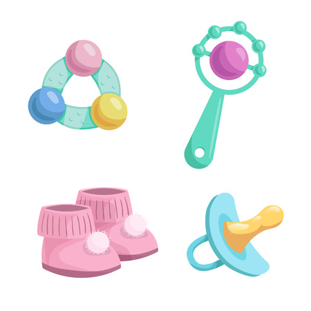 Cartoon baby accessories icons set. Girl pink baby booties, rubber dummy and different rattles. Vector illustration.