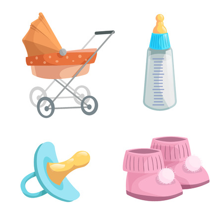 Cartoon baby accessories icons set. Girl pink baby booties, rubber dummy, orange bed pram and feed  bottle with milk. Vector illustration.