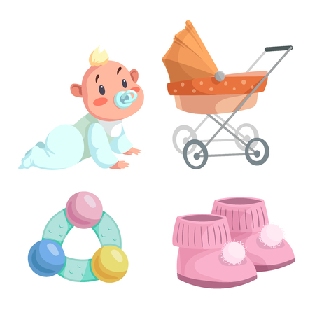 Cartoon happy infancy set. Baby boy with dummy crawl, orange bed pram, circle rattle with colorful balls and baby booties. Vector illustration. Stock Illustratie