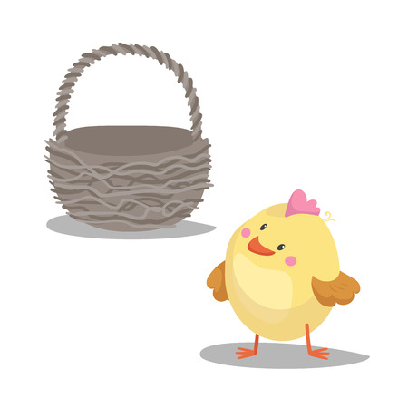 Cartoon cute boy chick looking on empty basket. Easter icon symbol. Vector illustration.