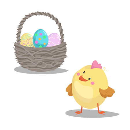 Cartoon cute boy chick looking on basket with painted eggs. Easter flat design icon symbols. Vector illustration.