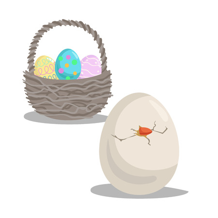 Cartoon hatched egg and  basket with painted eggs. Easter flat design icon symbols. Vector illustration.