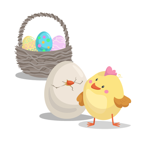 Cartoon cute boy chick looking on hatched egg and  basket with painted eggs. Easter flat design icon symbols. Vector illustration.