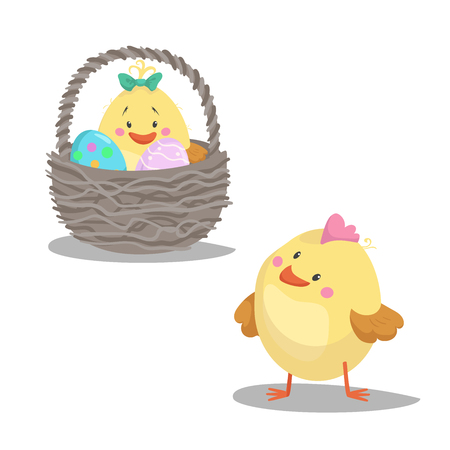Cartoon boy and girl newborn chickens and wicker wooden basket with easter painted eggs. Easter flat design icon symbols. Vector illustration. Illustration