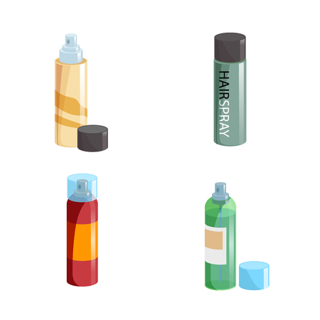 Simple gradient hair spray fixation icons set. Closed   with transparent cap and opened different colors bottles. Hair care and styling accessory vector illustration collection. Ilustração