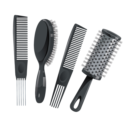 Trendy design haircare icons set. Metal and plastic comb, cylinder and brush professional black hair styling accessories tools. Vector illustration. Stock Illustratie