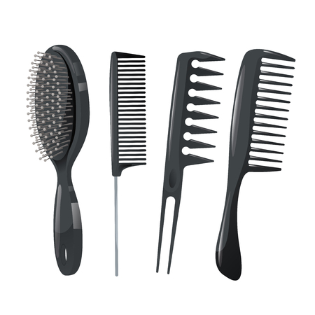 Trendy design haircare icons set. Metal and plastic combs, massage brush professional black hair styling accessories tools. Vector illustration.
