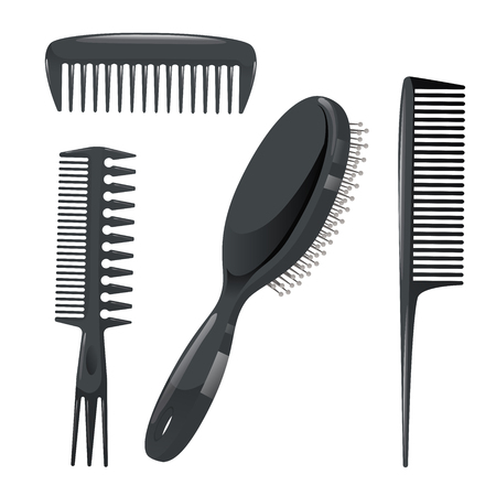 Trendy design haircare icons set. Plastic combs, massage brush professional black hair styling accessories tools. Vector illustration.