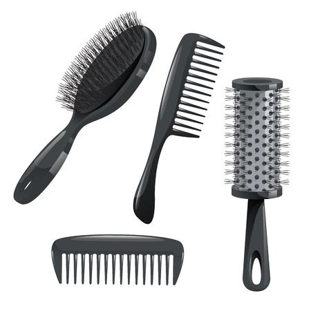 유행 디자인 헤어 케어 아이콘을 설정합니다. 금속 및 플라스틱 빗, 실린더 및 브러시 전문 검은 머리 액세서리 도구를 스타일링합니다. 벡터 일러스트 일러스트