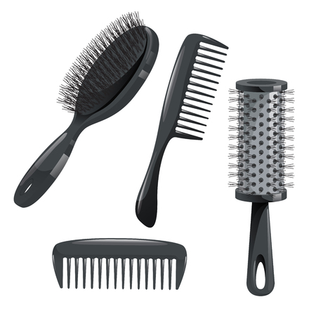 Trendy design haircare icons set. Metal and plastic comb, cylinder and brush professional black hair styling accessories tools. Vector illustration. 向量圖像
