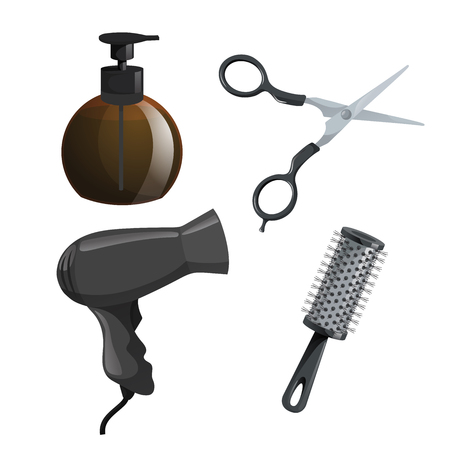 Trendy design haircare icons set. Brown container with gel, scissors, hair dryer and cylinder brush comb. Professional black hair styling accessories tools. Vector illustration.