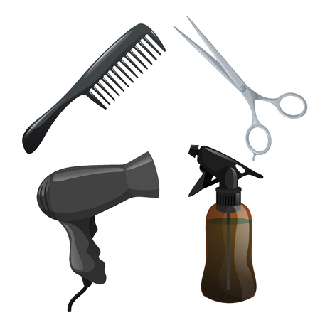 Trendy design haircare icons set. Brown container with spray, scissors, hair dryer and comb. Professional black hair styling accessories tools. Vector illustration. Ilustracja
