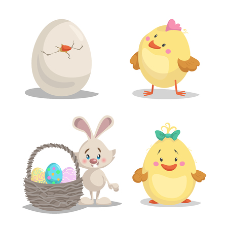 Spring character mascot and seasonal illustrations set. Hatched egg. Cute chick boy and girl, Easter bunny with basket with painted eggs.
