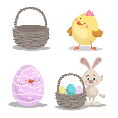 Spring easter symbols and seasonal vector illustrations set. Empty basket, cute chick boy, easter bunny with basket and painted hatched egg.