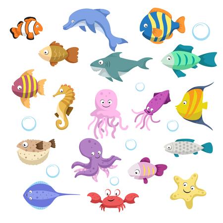 Conjunto grande de dibujos animados coloridos animales de arrecife de moda. Peces, mamíferos, crustáceos. Dolphin y tiburón, pulpo, cangrejo, estrella de mar, medusa. La vida silvestre coralina de los arrecifes tropicales.