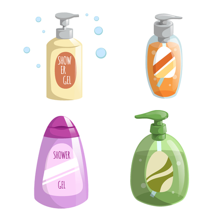Cartoon trendy design different color bottles icons set. Shower gel and liquid soap, vector illustrations. Illustration