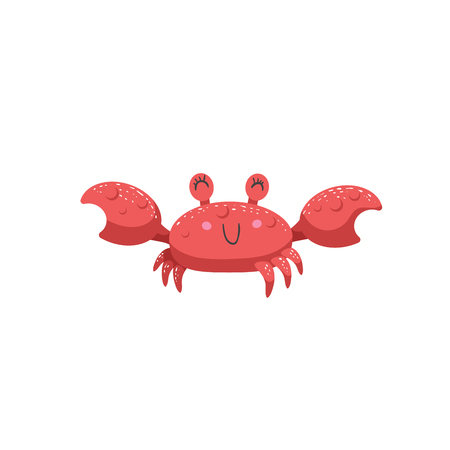 Trendy cartoon style red crab character smile. Simple gradient flat design for kid education. Underwater life.