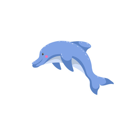 Cartoon trendy style dolphin jumping. Friendly kid design for education. Simple gradients. Çizim