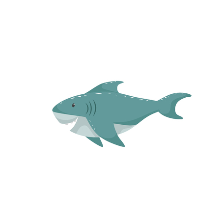 Trendy cartoon style cheerful shark swimming underwater. Educational simple gradient vector icon. Illustration