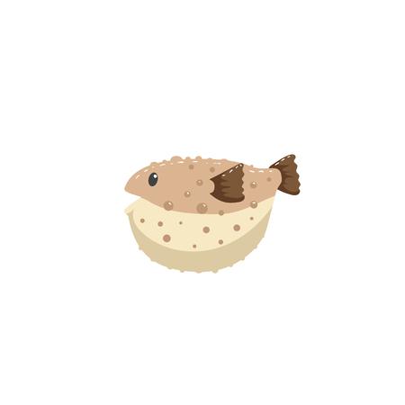 Brown blowfish cartoon character swimming underwater. Trendy cartoon style vector illustration.