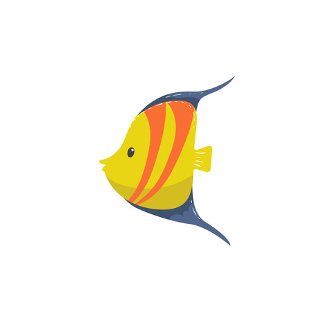 Trendy cartoon yellow striped fish with blue fins icon. Funny design for kids.