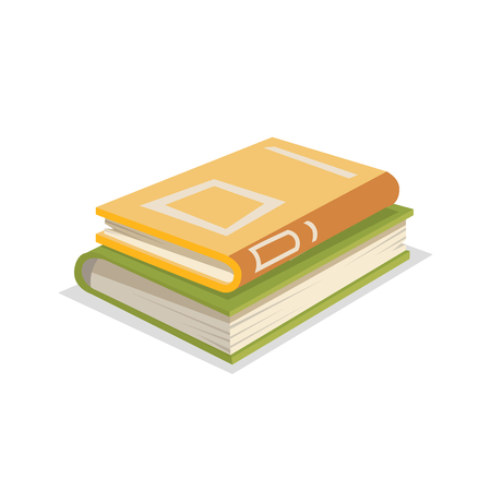 Cartoon trendy design yellow closed books stack. Library. education and school symbol. Vector illustration.