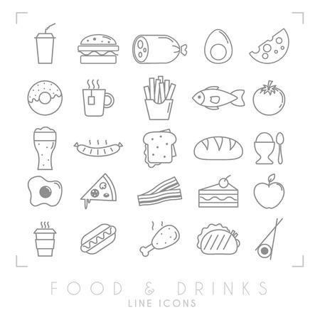 大きな流行のシンプルな細い線のフード アイコンを設定します。ファーストフードや朝食、国立で健康的な食品のシンボル。